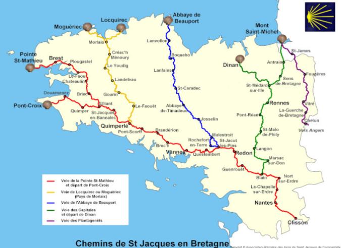 Les Chemins de Saint-Jacques de Compostelle en Bretagne