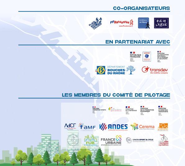Logos organisateurs et partenaires des Assises de la marche en ville